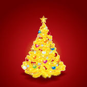 Beauty Golden Christmas Tree — Vettoriale Stock