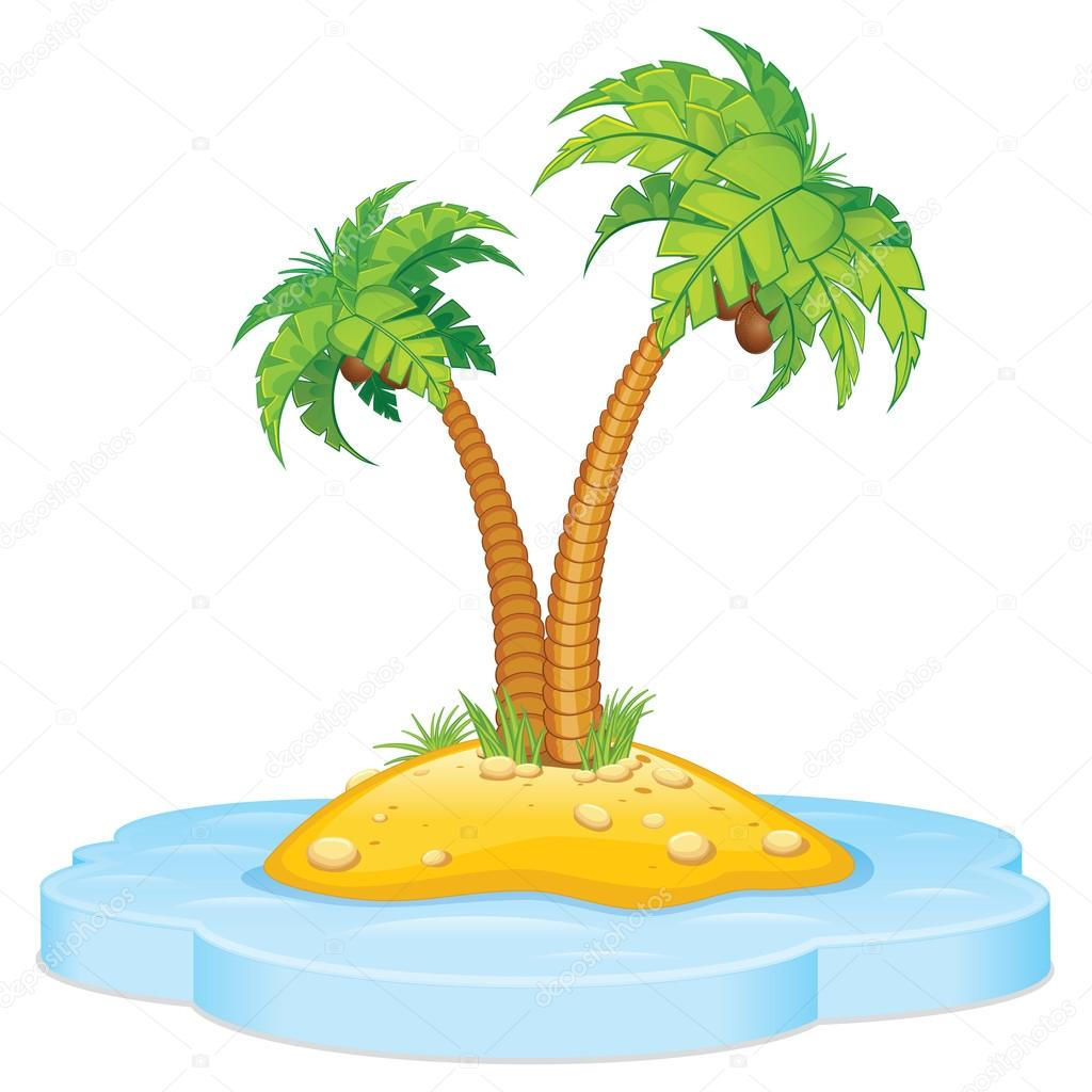 Cartoon Tropical Island with Coconut Palm. Isolated Vector Illustration — Stock Vector #14411797