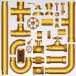 Golden Vector Pipeline - Stock Vector