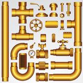 Gyllene vektor pipeline — Stockvektor