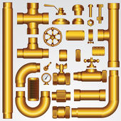 Zlaté vektorové potrubí — Stock vektor