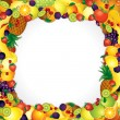 Stock Vector: Frame from Fresh Fruits. Vector Image with Free Space