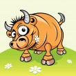 Stock Vector: Cartoon Picture of Funny Bull. Vector Image