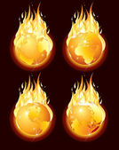 Apocalypse. Set of Burning Earth Globes. Vector Graphics — Stock Vector