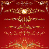 Golden Ornamental Design Elements. Vector Graphics — Stock Vector
