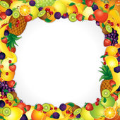 Frame from Fresh Fruits. Vector Image with Free Space — ストックベクタ