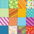 Quilt Patchwork Texture. Seamless Vector Pattern — Stock Vector