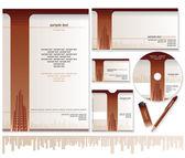 名片、 宣传册、 信封设计模板 — 图库矢量图片