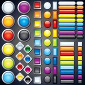 Samling av web knappar, ikoner, barer. vektorbild — Stockvektor