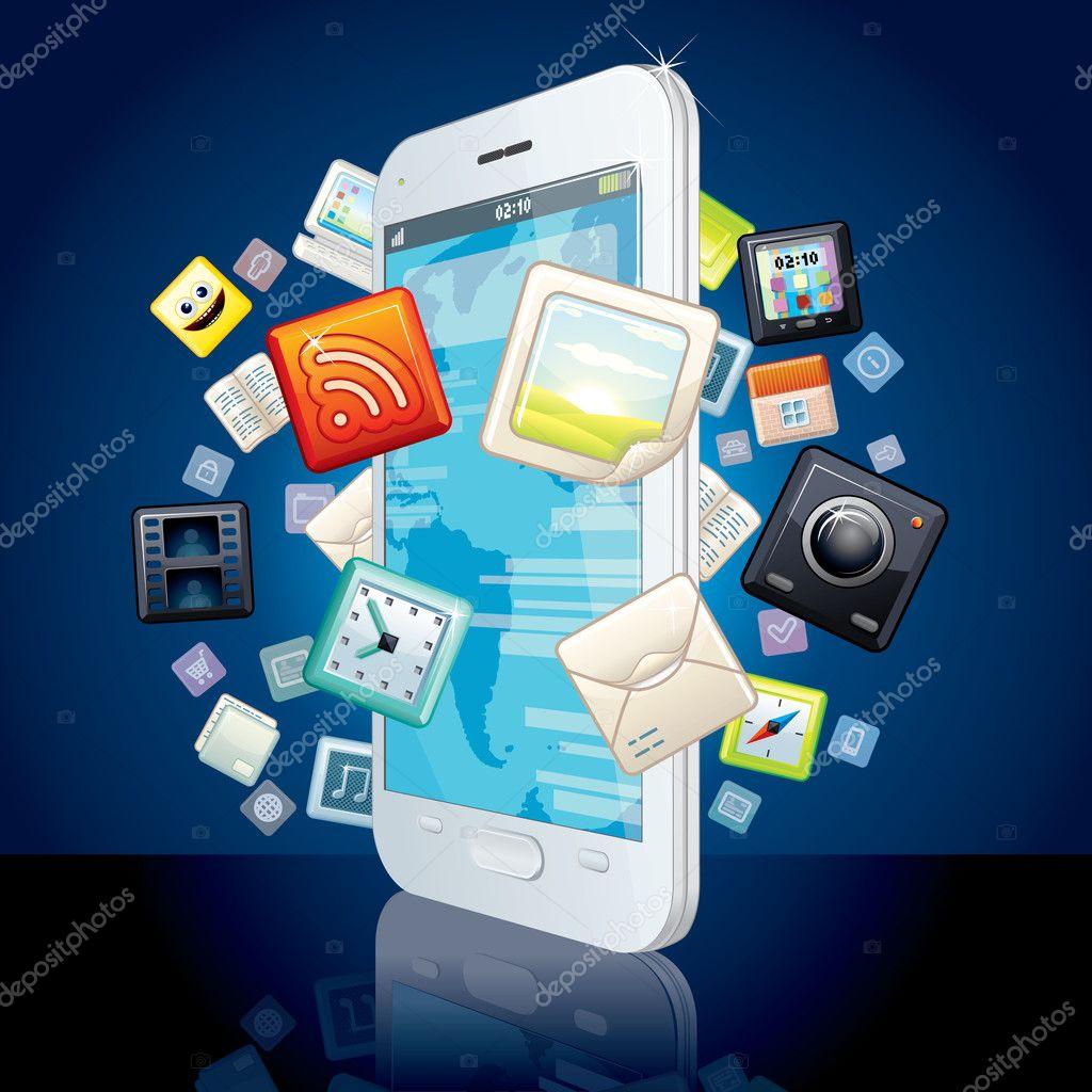 图标云周围的触摸屏智能手机.矢量图像