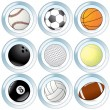 Vector Set of Buttons with Sport Balls - Stock Vector