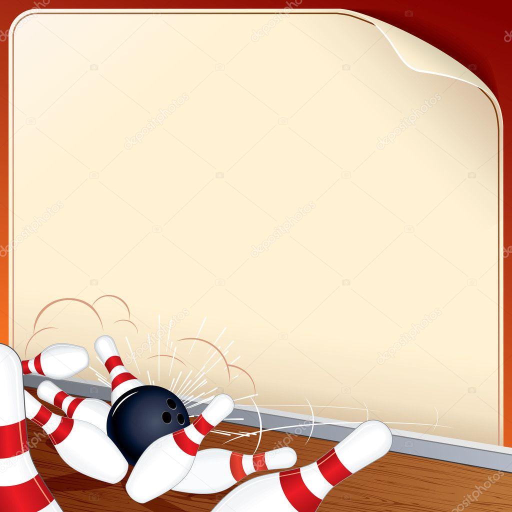 Bowling Ball Crashing into the Pins. Vector Image — Stock ...