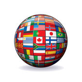 World Flags Globe. Vector Image — Stock Vector