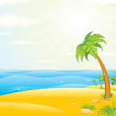 Tropical Island Beach. Vector Illustration — Stockvektor
