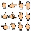 Vector Hand Signs. Pixel Pictograms - Stock Vector