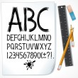 Stock Vector: Hand Drawn Sketch Alphabet on Paper. Vector Image