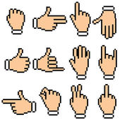 Vector Hand Signs. Pixel Pictograms — Stock Vector