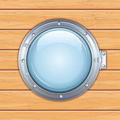 Porthole Window on a Wooden Ship. Vector Image — Stockvektor