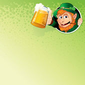 Cartoon Leprechaun with Mug of Ale. Vector Image — Stock Vector