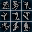 Winter Sport Icons. Vector Set - Stock Vector