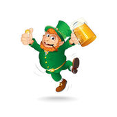 Cute Jumping Leprechaun. Isolated Cartoon Image — Stock Vector