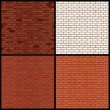 Brick Wall Variants. Seamless Vector Patterns — ストックベクタ