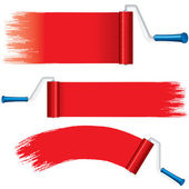 Red Roller Brush Painting Strokes on Wall. Vector — Stock Vector