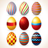 Easter Eggs Set. Vector Clip Art — Stock Vector