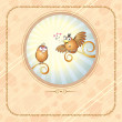 Birds in Love, Romantic Illustration — ストック写真