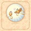 Birds in Love, Romantic Illustration — Stock Photo