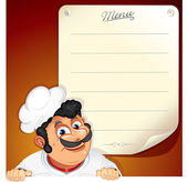 Chef with Blank Menu — Stock Photo