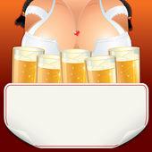 Oktoberfest Waitress Girl with Beer. — Stock Photo