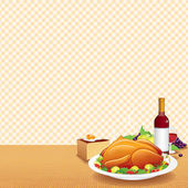 Roasted Turkey on Decorated Table — Stock Photo