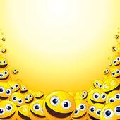 Fundo com pilha de smileys amarelos. — Foto Stock