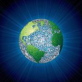 Sociale media pictogrammen globe — Stockfoto