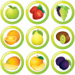Royalty-Free Stock Photo: Fruits icon, label or sticker, colorful collection