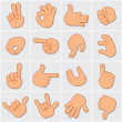 Large collection of hand gestures and signs — Stock Photo #23348358