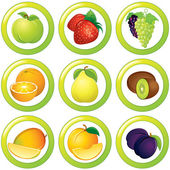 Fruits icon, label or sticker, colorful collection — Stock Photo