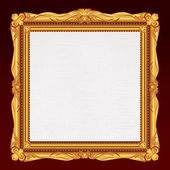 Antique Gold Frame with Blank Canvas. — Stock Photo