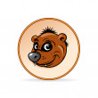 Cartoon Illustration of a Brown Bear Head. - Stock Vector