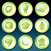 Vector Green Eco Icons — Stock Vector