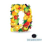 フルーツからベクトルのアルファベット。文字 d — ストックベクタ