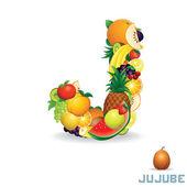 Vector Alphabet From Fruit. Letter J — Stock Vector