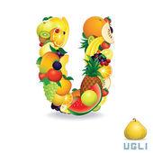 Vector Alphabet From Fruit. Letter U — Stock Vector