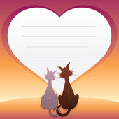 Romantic illustration with Cats. Vector Graphics — Stock Vector