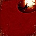 Cadılar Bayramı arka planda uçan cadı ile — Stok fotoğraf
