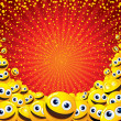 Funny Colorful Vector Background with Smileys - Stock Photo