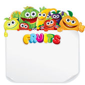 Cartoon Fruits with Blank Sign — Stock Photo