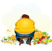 Fatty Vegan Man eating Fruits and Vegetable — Stock Photo