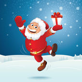 Happy Santa Jumping Over Winter Landscape — Stock Photo
